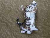 Playful Kitten Paw Up Embroidered Iron On Patch