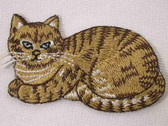 Golden Beige Tiger Seated Cat Embroidered Iron On Patch