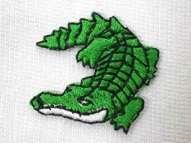 Green Smiling Alligator Embroidered Iron On Patch