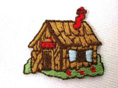 Country Cabin Embroidered Iron On Applique Patch