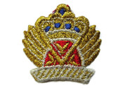 Gold Silver Red Blue Metallic Crown Emblem Iron On Applique Patch 2 Inch
