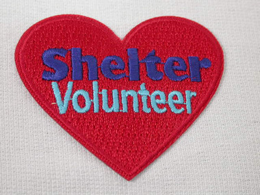 Shelter Volunteer Heart Embroidered Iron On Heart Patch 2.25 Inches