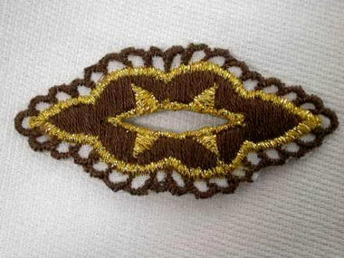 Brown Gold Filigree Decorative Buttonhole Iron On Patch