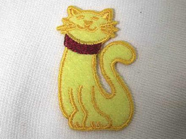 Yellow Smiling Kitty Cat Iron On Patch Applique