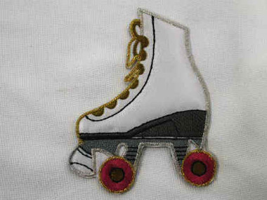 White Roller Skate Embroidered Iron On Patch Large