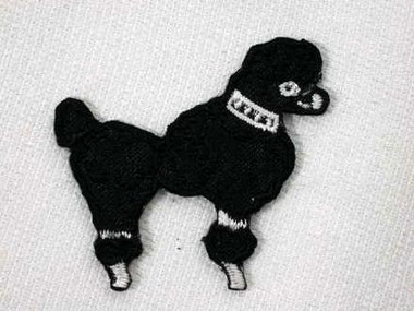 Black 50s Poodle Embroidered Iron On Patch 1.88 in