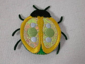 Beetle Yellow Edge Luminous Wings Iron On Patch