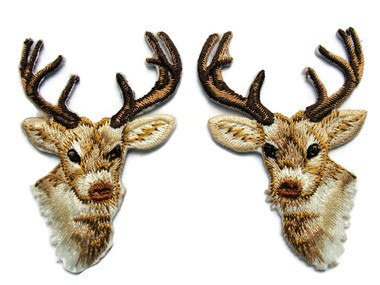 Deer Head Pair Embroidered Iron On Patch Applique Each 2.5 Inch Tall