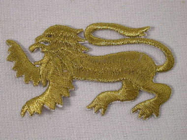 Gold Lion Metallic Heraldic Iron On Patch Left