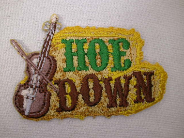 Hoe Down Fiddle Musical Embroidered Iron On Patch