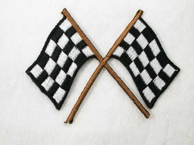 Dual Checkered Race Flag Embroidered Iron On Patch B