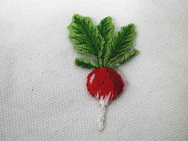 Turnip Radish Vegetable Embroidered Iron On Applique Patch