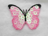 Pink Butterfly Sequin Embroidered Iron On Patch