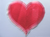 Oversized Red Banded Heart Embroidered Iron On Patch 8 Inches