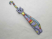 Long Tall Lilac Crazy Cat Embroidered Iron On Patch
