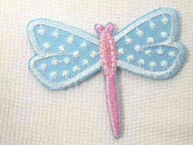 Embroidered Iron On Blue Pearlized Dragonfly Applique Patch