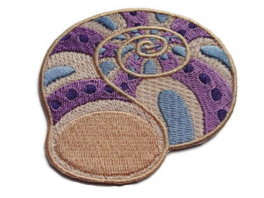 Nautilus Shell Lilac Beige Blue Embroidered Iron On Patch 2.75 Inches