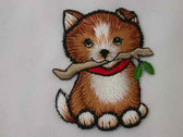 Puppy Dog with Stick Embroidered Iron On Patch Applique 2.5 Inches