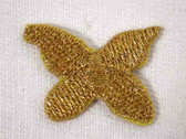 2 Butterfly Gold Metallic Iron On Applique Patch
