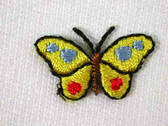 2 Yellow Blue Red Butterfly Iron On Appliques Patches .88 In