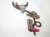 Steer Cowboy Hat Boots Rope Iron On Applique Patch