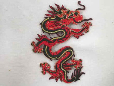 Embroidered Iron On Red Black Gold Dragon Applique Patch