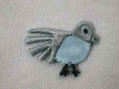 Small Blue Grey Bird Embroidered Iron On Applique Patch