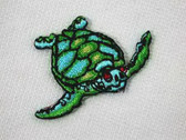 Sea Turtle Embroidered Iron On Applique Patch 1.5 In