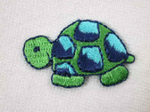 Blue Green Turtle Embroidered Iron On Applique Patch