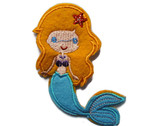Blond Child Felted Mermaid Iron On Patch 4.25 Inches