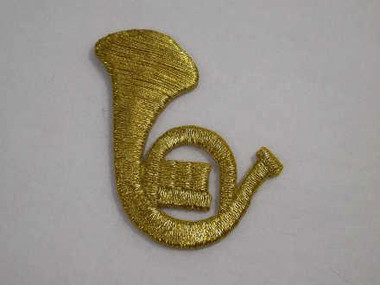 Gold Metallic French Horn Iron On Patch1.5 Inch