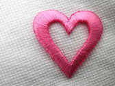 2 Open Heart Embroidered Iron On Patch Pink 1 In