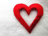 2 Open Heart Embroidered Iron On Patch Red 1 In