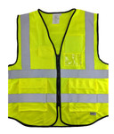 Hi-Visibility Yellow Vest (ANSI/ISEA 107-2015 -CLASS 2) with Velcro Patch Panels - Front & Back