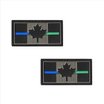 "PVC Morale Patch - Canadian Thin Blue & Green Line 1""x2"" Supporting Law Enforcement & Military (2pcs)"