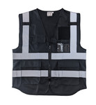 Hi-Visibility Black Vest (ANSI/ISEA 107-2015 -CLASS 2) with Velcro Patch Panels - Front & Back