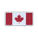 """Reflective Morale Patch - Canadian Flag - Grey Reflective & Red  2""""x4"""" - High Visibility Reflective"""