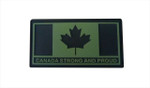 "PVC Morale Patch - Canada Strong and Proud - OD Green 1.5""x3"""