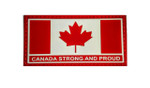 "PVC Morale Patch - Canada Strong and Proud - Red & White 1.5""x3"""