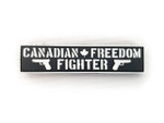 "PVC Morale Patch - Canadian Freedom Fighter - Black & White - 1""x 4"""
