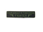 "PVC Morale Patch - Canadian Freedom Fighter - Black & ODG - 1""x 4"""