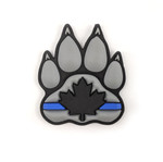 "PVC Morale Patch - K9 Thin Blue Line - Version 1 - Black & Grey 2""x2.375"""