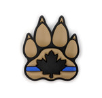 "PVC Morale Patch - K9 Thin Blue Line - Version 1 - Black & Tan 2""x2.375"""