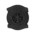 "PVC Morale Patch - Volunteer Firefighter - Black & Grey 3""x3.5"""