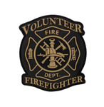 "PVC Morale Patch - Volunteer Firefighter - Black & Tan 3""x3.5"""