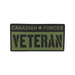"PVC Morale Patch - Canadian Forces Veteran - Black & OD Green 2""x4"""