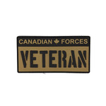 "PVC Morale Patch - Canadian Forces Veteran - Black & Tan 2""x4"""