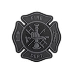 "PVC Morale Patch - FIRE Department Black & Grey 3""x3"""