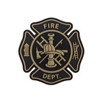 "PVC Morale Patch - FIRE Department Black & Tan 3""x3"""