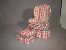 Red & Green Plaid Easy Chair w/Ottoman